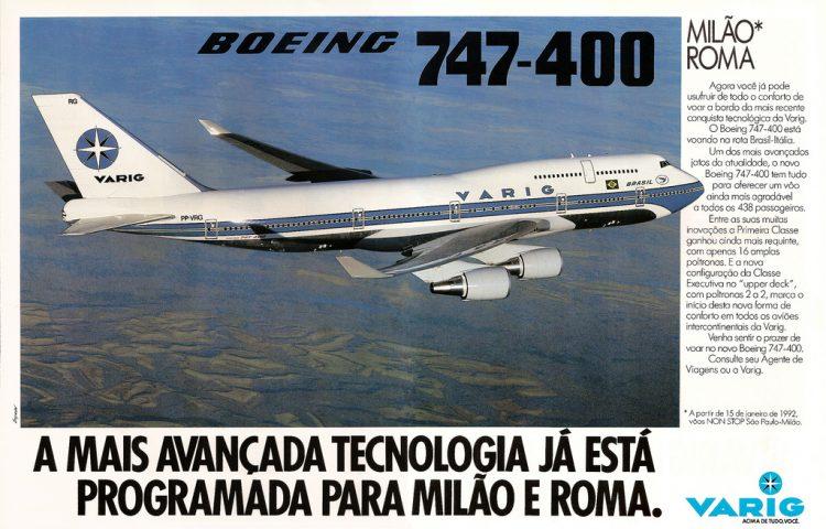 Anúncio de 1992 mostra o novo 747-400 da Varig (Foto: Reprodução)